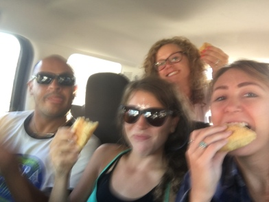 Us enjoying croissants in Belize City